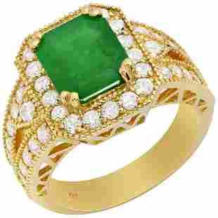 14k Yellow Gold 2.34ct Emerald 1.28ct Diamond Ring