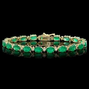14K Gold 12.89ct Emerald 0.81ct Diamond Bracelet