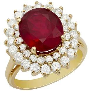 14K Gold 5.77ct Ruby and 1.46ct Diamond Ring