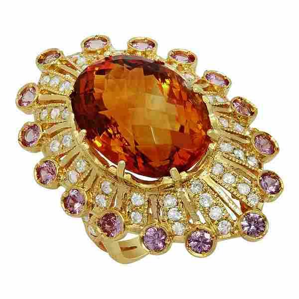 14k Yellow Gold 15.27ct Citrine 1.15ct Sapphire 1.09ct