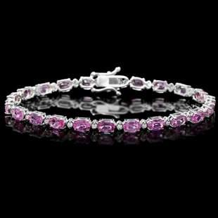 14K Gold 11.45ct Sapphire 0.39ct Diamond Bracelet