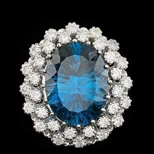 14K White Gold 10.87ct Blue Topaz and 0.56ct Diamond