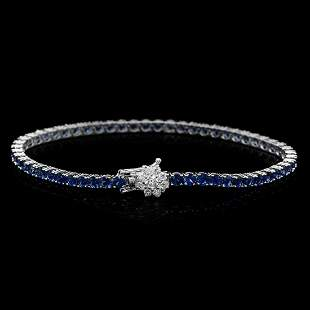 14K Gold 6.98ct Sapphire 0.54ct Diamond Bracelet