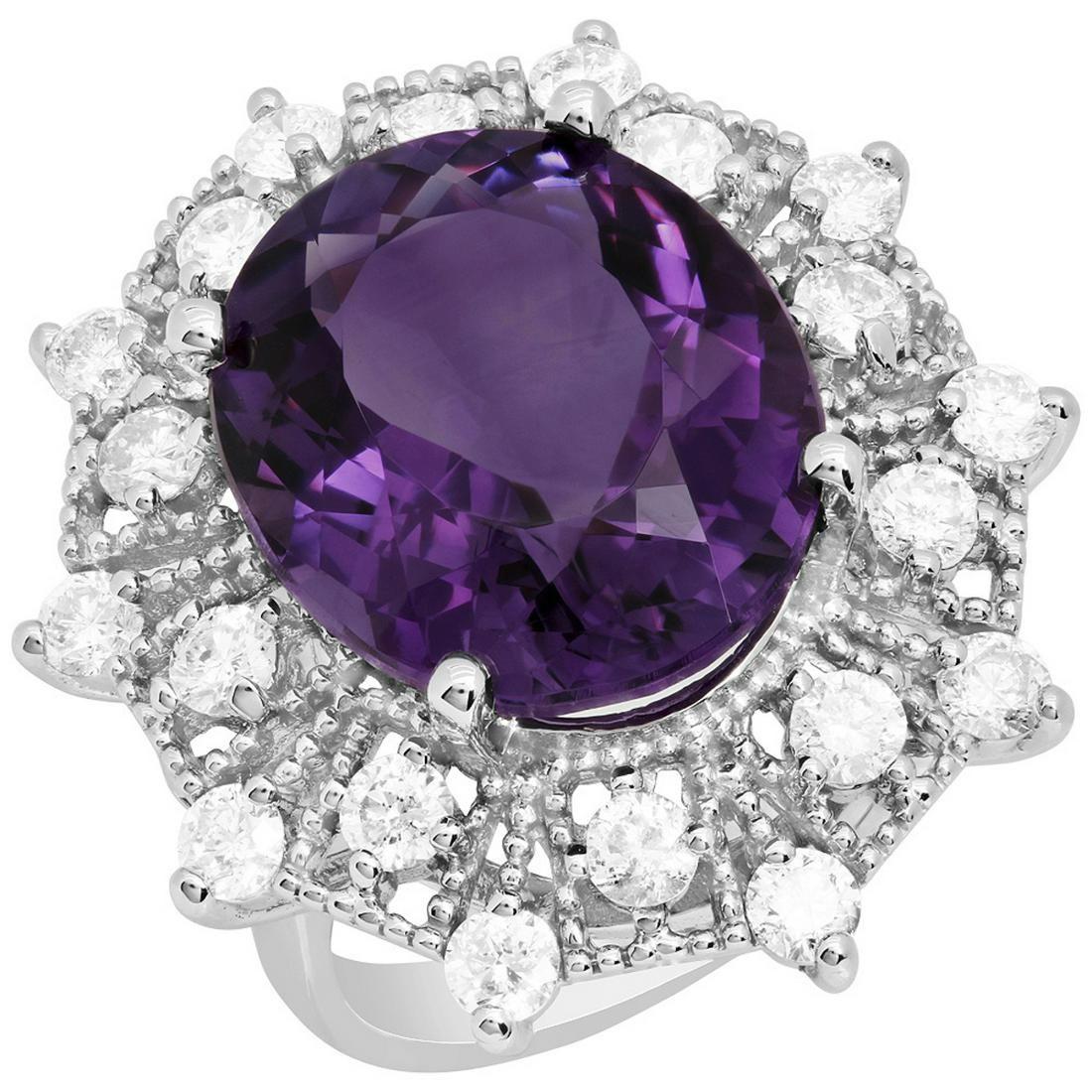 14k White Gold 12.32ct Amethyst 1.86ct Diamond Ring