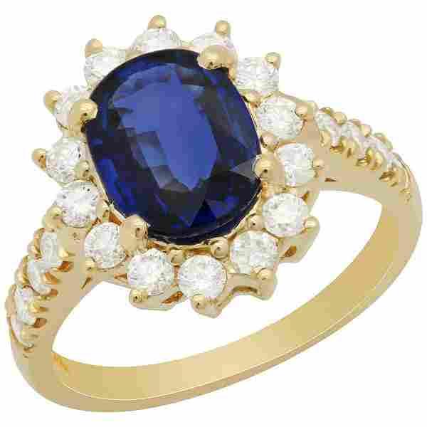 14k Yellow Gold 2.01ct Sapphire 0.82ct Diamond Ring