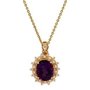14k Yellow Gold 7.35ct Amethyst 0.76ct Diamond Pendant