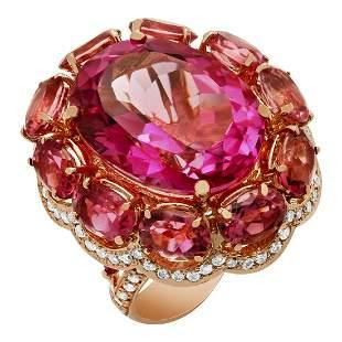 14k Rose Gold 23.44ct Pink Topaz 14.21ct Pink