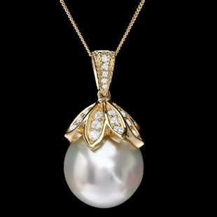 14K Gold 16MM Pearl 1.25ct Diamond Pendant