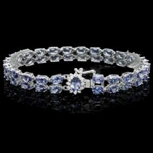14K Gold 20.09ct Tanzanite 0.34ct Diamond Bracelet