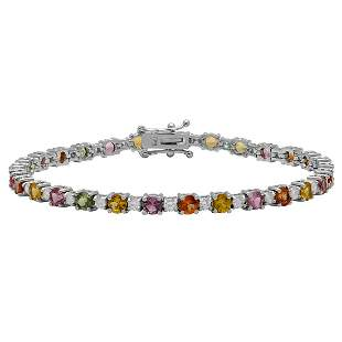 14k White Gold 5.96ct Sapphire 1.19ct Diamond Bracelet