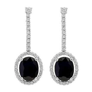 14k White Gold 5.85ct Sapphire 0.89ct Diamond Earrings