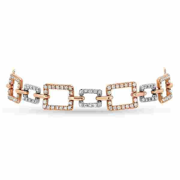 14K Rose & White gold with 2.0ct Diamond Bracelet
