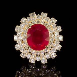 4K Yellow Gold 9.50ct Ruby and 3.86ct Diamond Ring