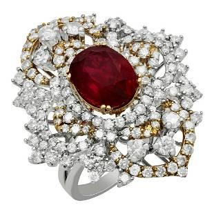 14k White &Yellow Gold 4.28ct Ruby 3.25ct Diamond Ring