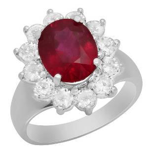 14k White Gold 4.00ct Ruby 1.34ct Diamond Ring