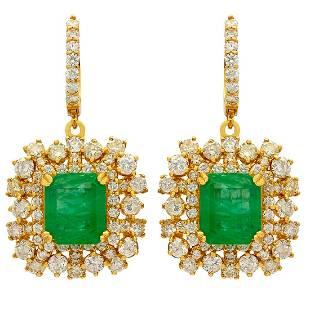 14k Yellow Gold 6.32ct Emerald 5.89ct Diamond Earrings