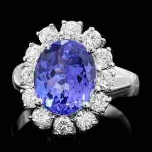 14K White Gold 3.42ct Tanzanite and 1.08ct Diamond Ring