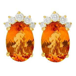 14k Yellow Gold 20.64ct Citrine 1.53ct Diamond Earrings
