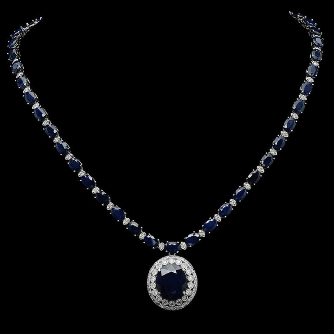 K Gold 51.02 ct Sapphire & 3.31 ct Diamond Necklace