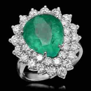 14K White Gold 6.13ct Emerald and 2.36ct Diamond Ring