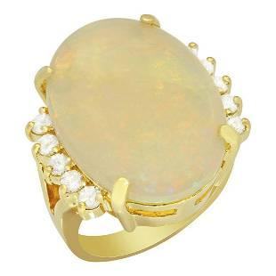 14k Yellow Gold 11.44ct White Opal 0.53ct Diamond Ring