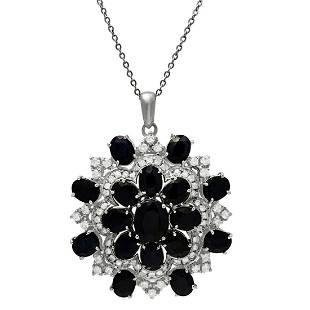 14k White Gold 27.94ct Sapphire 2.61ct Diamond Necklace