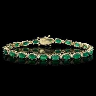 14K Gold 10.31ct Emerald 0.43ct Diamond Bracelet
