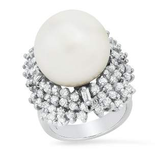 14K White Gold with 15MM South Seas Pearl and 1.76ct