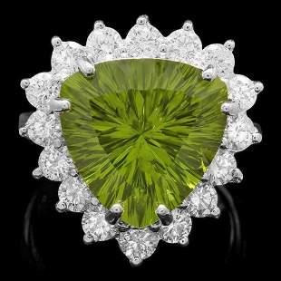 14K White Gold 9.38ct Peridot and 1.60ct Diamond Ring