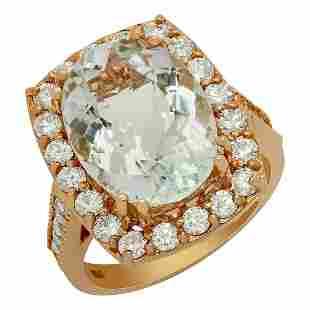 14k Rose Gold 8.60ct Aquamarine 1.43ct Diamond Ring