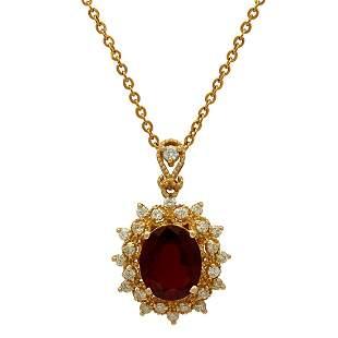 14k Yellow Gold 3.99ct Ruby 0.64ct Diamond Pendant