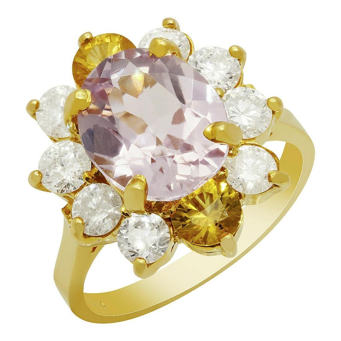 14k Yellow Gold 3.59ct Kunzite 0.98ct Yellow Sapphire