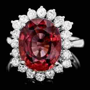 14K White Gold 8.87ct Zircon and 0.90ct Diamond Ring