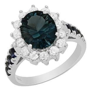 14k White Gold 3.00ct Blue Topaz 0.51ct Sapphire 0.69ct