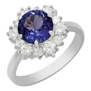 14k White Gold 2.10ct Tanzanite 0.96ct Diamond Ring