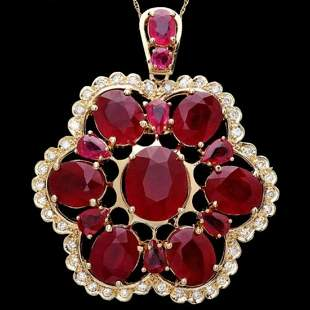 14K Gold 36.76ct Ruby and 0.97ct Diamond Pendant