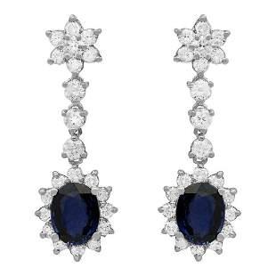 14k White Gold 3.34ct Sapphire 2.63ct Diamond Earrings