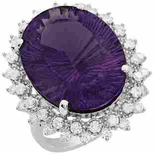 14k White Gold 18.19ct Amethyst 1.31ct Diamond Ring