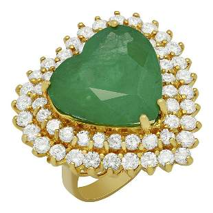 14k Yellow Gold 12.10ct Emerald 2.78ct Diamond Ring