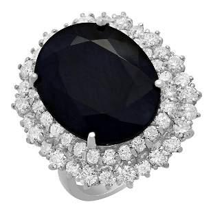 14k White Gold 13.25ct Sapphire 2.03ct Diamond Ring