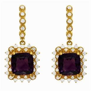 14k Yellow Gold 11.50ct Amethyst 1.25ct Diamond