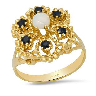 14K Yellow Gold with Opal and Sapphire Ladies Ring