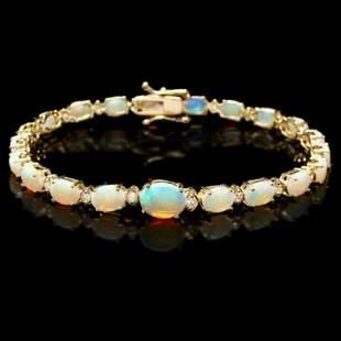 14K Gold 7.30ct Opal 0.56ct Diamond Bracelet