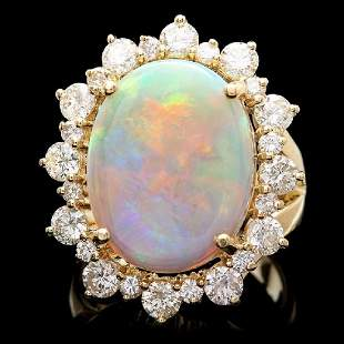 14K Yellow Gold 5.92ct Opal and 2.37ct Diamond Ring