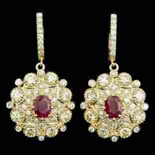 14k Yellow Gold 2.69ct Ruby 7ct Diamond Earrings