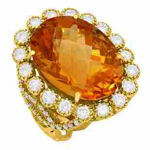 14k Yellow Gold 17.38ct Citrine 1.82ct Diamond Ring