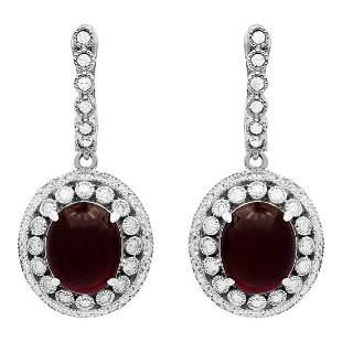 14k White Gold 12.93ct Ruby 1.73ct Diamond Earrings