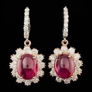 14k Gold 12.71ct Ruby 2.97ct Diamond Earrings