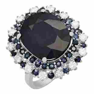 14k White Gold 15.44ct & 1.00ct Sapphire 1.00ct Diamond