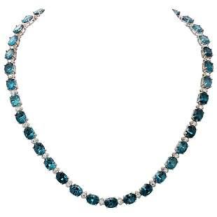 14k White Gold 51.16ct Blue Topaz 2.46ct Diamond
